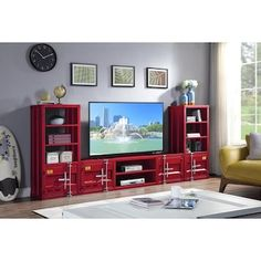 ACME FURNITURE Cargo Red TV Stand in the TV Stands department at Lowes.com Tv Stand Furniture, Acme Furniture, Furniture Deals, Home Theater Room Design, Home Theater Rooms, Red Tv Stand, Tv Cords, Media Shelf, Toddler Furniture