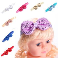 Sale 16% (1.85$) - Kids Baby Girls Infant Bow Paillette Bowknot Elastic Headband Solid Hair Accessory Band