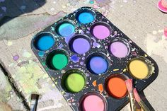SIDEWALK PAINT: 1/4 cup of cornstarch, 1/2 cup water and food coloring. Combine the cornstarch and water. Mix. Add a few drops of food coloring. Make a few batches of different colors.