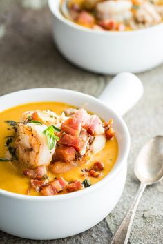 A creamy sweet potato chowder with jumbo shrimp, pan seared scallops and fresh crab meat. This easy to make soup is topped with giant chunks of Pancetta ham and fresh oregano.