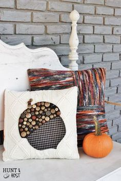 mismatched button acorn sweater pillow, crafts, diy, home decor, repurposing upcycling, seasonal holiday decor