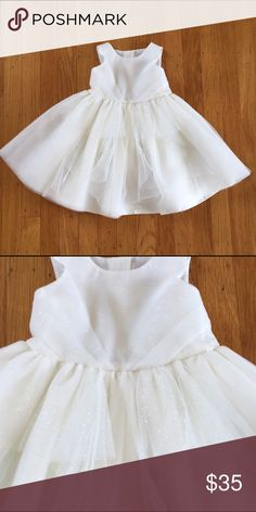 Janie and Jack sparkle dress White and metallic silver tulle ballerina dress.  NWOT. Perfect for a wedding flower girl or birthday party! Janie and Jack Dresses