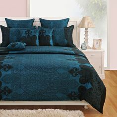 Swayam Zinnia Collection Satin Teal Bed Sheet Set - You will fall in love with this exquisitely designed bed sheet set from Swayam. Made of 100% cotton for premium quality, this will endear itself to you with its gorgeous blue color and sports an amazing contemporary pattern. Floral Bedding, Linen Bedding, Bed Linen, Teal Bed Sheets, Bedding Sets Online, Bed In A Bag, Large Homes, Bed Sheet Sets, Zinnias