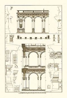 Porch of the Cathedral of Spoleto and arcade of Palazzo Farnese, Rome, elevations, plans and details.