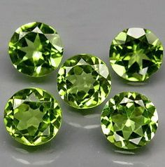 Green Faceted Peridot Faceted Rounds 6 MM 5 Pc Lot by SilverFound, $13.75