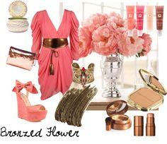 """Bronzed Flower"" by rhinestonesandrouge on Polyvore"