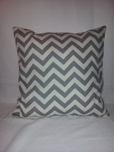 14 x 14 Gray and Off White Chevron Print Decorative by SoftSquares, $12.00