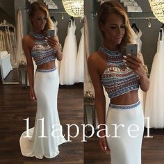 2016 New Two Piece Prom Evening Dresses White Crystal Sexy Party Formal Gown
