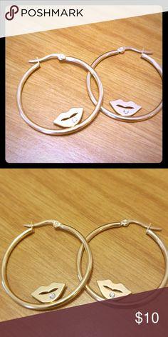 Cute Lips w/ engraved Gem Hoop Earrings Nwot. Never worn. Jewelry Earrings