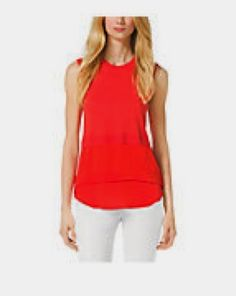 Eldonne: Beautiful color Tiered Tops, Sporty Chic, Basic Tank Top, Denim Shorts, Michael Kors, Blazer, Tank Tops, Itunes, Real Estate