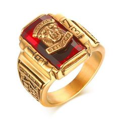 Men Multicolor Red Blue Black Green Stone Big Rings Stainless Steel 1973 Walton Tiger Head Ring Gold-Color Titanium Ring #Affiliate