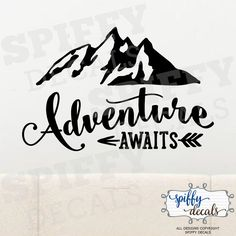 Adventure Awaits Wall Decal Vinyl Sticker Quote Travel With Arrow Mountains by SpiffyDecals on Etsy https://www.etsy.com/listing/385087108/adventure-awaits-wall-decal-vinyl
