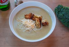 Broccoli Beer Cheese Soup with Mustard Croutons