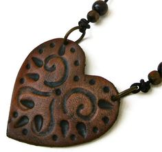 SALE Tribal Heart Leather Tooled Pendant with Leather by karenkell, $34.00