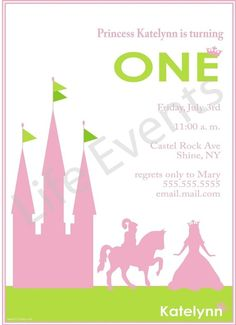 Custom Knight Princess Invitation on Etsy, $1.45
