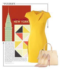 Jenni by savvy-maven on Polyvore featuring polyvore fashion style Versace Christian Louboutin Calvin Klein clothing yellow dress versace christianlouboutin CalvinKlein