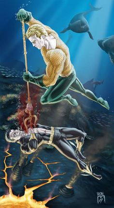 THIS ARTWORK IS SOLD: Aquaman Vs Namor was a subject for a contest that I entered. It's really hard to make Aquaman look cool so mine was inspired by the Alex Ross version. Dc Heroes, Comic Book Heroes, Comic Books Art, Comic Art, Aquaman Dc Comics, Marvel Dc Comics, Marvel And Dc Crossover, Black Manta, Sub Mariner