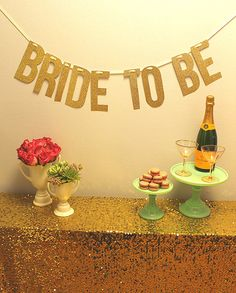 "Gold Glitter ""BRIDE TO BE"" Banner Garland perfect for Bridal Shower or Bachelorette"