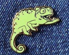 Feliz camaleón duro esmalte Pin  negro y oro  solapa Pin