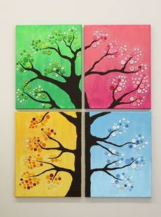 Metal Tree Wall Art, Diy Wall Art, Diy Art, Canvas Wall Art, Metal Art, Button Tree Art, Button Art, Button Crafts, Button Tree Canvas