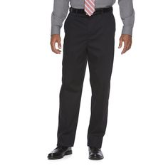 Men's Croft & Barrow® Relaxed-Fit No-Iron Flat-Front Casual Pants, Size: 40X29, Black