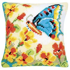Butterfly and Flowers Pillow Top - Cross Stitch, Needlepoint, Stitchery, and Embroidery Kits, Projects, and Needlecraft Tools   Stitchery