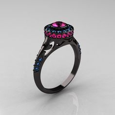 Modern Antique 14K Black Gold Pink Sapphire Aquamarine Wedding Ring