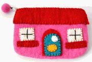 Wool felt house coin purse   Darlybird