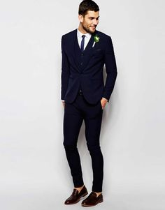 Image 1 of ASOS Wedding Navy Super Skinny Suit
