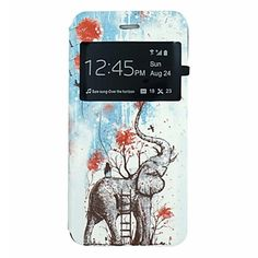 Elephant And Balloon Pattern PU Leather Open Window Full Body Case for iPhone 6 – NOK kr. 70