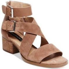 Steven by Steve Madden Elinda Strappy Block-Heel Sandals - Brown 8.5M  Zip into a strappy silhouette that is always in style with the double buckled crisscross-strap Elinda sandals from Steven by Steve Madden.
