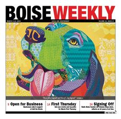 """""""A Warm Reception"""" Boise Weekly cover March 2015 by Laura Yager, beagle art, scrapbook paper art"""