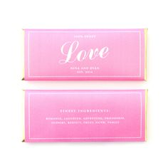 Angled Script Love Personalized Candy Bar Wrapper - Sweet Paper Shop - Peony Pink and Gold Foil