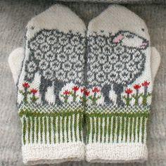 Stricken Ravelry: Sheep mittens pattern by Jorid Linvik, Mittens Pattern, Knit Mittens, Knitting Socks, Hand Knitting, Knitted Hats, Knitting Patterns, Crochet Patterns, Knitting Ideas, Knitting Projects