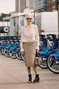 stylish boots and bag - New York Fashion Week SS 2014. Linda Rodin is so pretty and kooky and youthful.