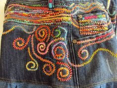 Stunning Upcycled Beaded Embroidered Jean by JaneCohenArtfulBags, $249.00