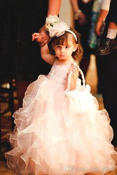 Wholesale Flower Girls' Dresses - Buy Fancy Design Hottest Selling New Fashion Jewel Ankle Length Ruffles Baby Pink Organza Cute Ball Gown L...