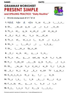 English Grammar Present Simple and Spelling Practice ('Daily Routine')… English Grammar Tenses, English Worksheets For Kids, English Activities, English Vocabulary, English Tips, English Class, English Lessons, Learn English, English Language Learning