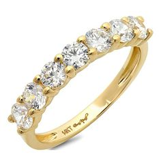 Clara Pucci 1.30 CT Round Cut CZ Designer pave Solitaire Classic Band Ring Solid 14K Yellow Gold