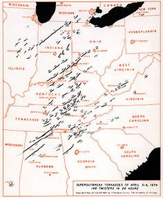 The Super Outbreak of tornadoes of 3–4 April 1974 remains one of the most outstanding severe convective weather episodes of record in the continental United States. The outbreak far surpassed previous and succeeding events in severity, longevity and extent, with the notable exception of the April 2011 outbreak. With a death toll of over 300, this outbreak was the deadliest since the 1936 Tupelo-Gainesville tornado outbreak. Its death toll would also not be surpassed until 2011
