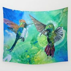 Hummingbirds beautiful and bright. Two colorful species. Colorful Hummingbirds, nature at its best | Home Decor | Design | @anoellejay @society6 | Wall Tapestry designs start at $39