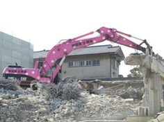Pink construction vehicle