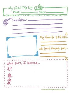 The Unlikely Homeschool: Field Trip Log Printable. Plus fun, simple & colorful!