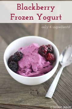 Super creamy Fat-Free Sugar-Free Blackberry Frozen Yogurt! It's sweet, it's tart, it's light and it's guilt-free.  Oh, and it's only 4 ingredients!