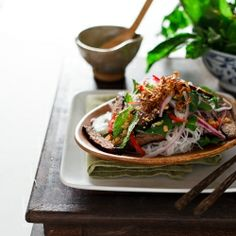 Vietnamese beef, mushroom and glass noodle salad... The best thing you will ever taste, worth the work. This is the same recipe I used... @Suzanne, with a Z. Hagen