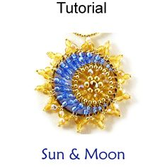 Beaded Sun and Moon Pendant Necklace Jewelry Making Pattern Tutorial Directions | Simple Bead Patterns
