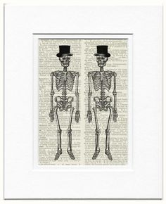 Skeletons   printed on vintage dictionary page by FauxKiss on Etsy