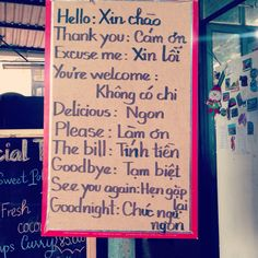 Vietnamese language lesson.
