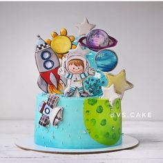 Baby Boy Birthday Cake, 3rd Birthday Cakes, Birthday Parties, Christening Themes, Planet Cake, Galaxy Cake, Cookie Icing, Cakes For Boys, Piece Of Cakes