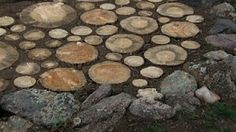 pave an area in your garden with stump slices